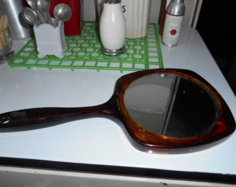 Vintage Tortoise Shell Brown Yellow Hand Mirror Regular and Magnified