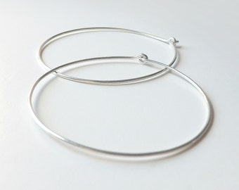 2 Inch Silver Hoop Earrings, Extra Large Silver Hoops Hammered Sterling Silver Hoop Eco Friendly Earrings