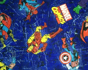 Marvel Comic SuperHero on Blue Fabric By The Yard FBTY
