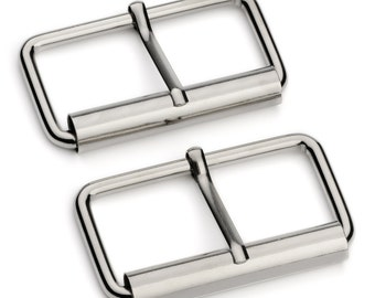 "10pcs - 2"" Roller Pin Belt Buckles - Nickel - Free Shipping (ROLLER BUCKLE RBK-124)"