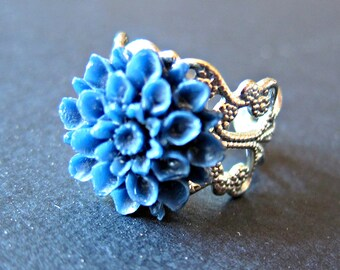 Cobalt Blue Flower ring- Navy blue Chrysanthemum Flower silver adjustable ring, blue flower ring, flower jewelry, silver filigree ring