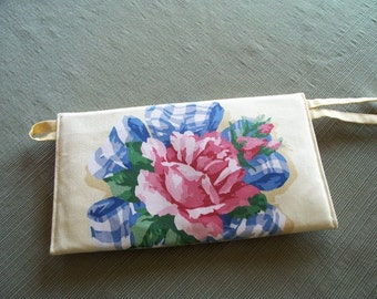 CLUTCH PURSE, Yellow with Rose Floral