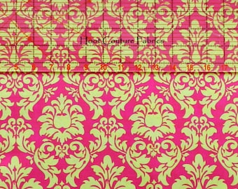 Dandy Damask CX3095 Watermelon - lime chartreuse green on hot pink cotton from Michael Miller Fabrics - on sale