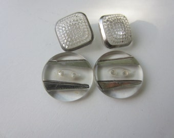 Vintage Buttons -  beautiful lot of 4 glass, clear with silver metallic trim, 2 styles (lot 9062)