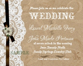 Rustic Craft Paper and Lace Wedding Invitations