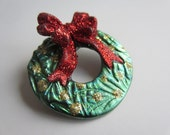 Holiday Christmas Wreath with gold Ornaments and Red Bow  Pin Brooch