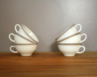 vintage 1950s Pyrex Dinnerware Dove Gray Band Set of 7 Tea Cups