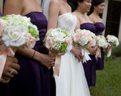 14 Piece Silk Wedding Peach Roses Cream/white Realtouch roses  Destination Bridal  Bridesmaids Package