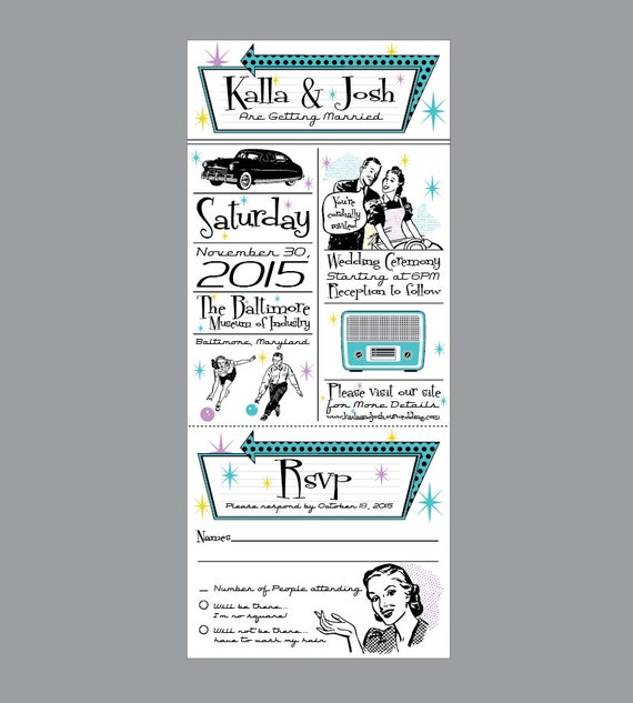 Wedding Invitations - Vintage Antique Retro 1950's Wedding Invitations