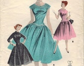 1950s Butterick 7703 Vintge Sewing Pattern Teen Drop Waist Party Dress Size 12 Bust 30