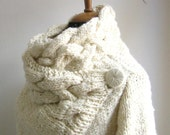custom order for  Anne Pritchard hand knit cardigan RIONA  coat cream size Small with custom sleeve lenght