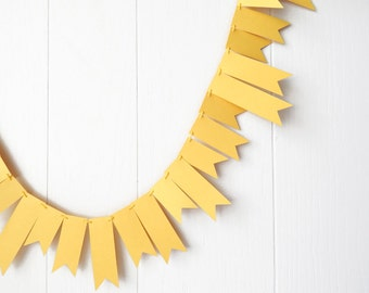 Lemon Yellow Garland Wedding Garland Yellow Bunting Flag Fringe Garland Summer Party