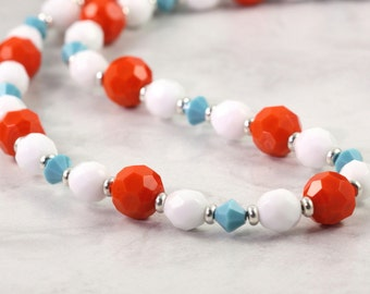 Summer Fashion Necklace Orange Turquoise White Bright Fun Beach Jewelry Tangerine Tango