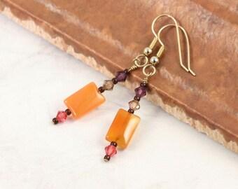 Carnelian Earrings Orange Amethyst Crystal Earrings Summer Jewelry Gypsy Colors Boho Fashion Topaz Honeysuckle Pink Multicolor Earrings