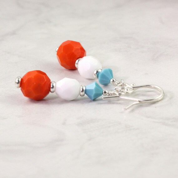 Beach Fashion Earrings Orange Turquoise White Bright Fun Summer Fashion Jewelry Tangerine Tango Mothers Day Jewelry