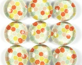 Glass Marble Magnets or Push Pins Set - Tangerine Summer Honeycomb