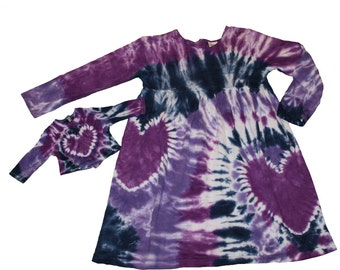 Girl and Doll Dress and Shirt Set in Navy, Purple and Lavender Tie Dye- Fits 15 to 18 Inch Dolls