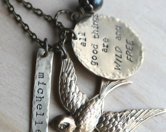 Free shipping. Brass Bird Handstamped Charm Necklace. Name. Quote. All Good Things are Wild and Free or your choice of quote