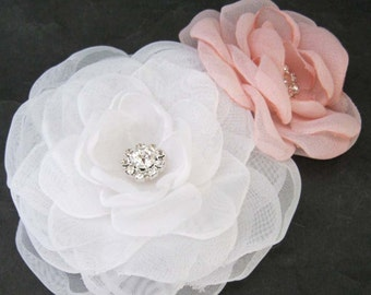 Bridal hair flower set, White, Blush, Organza Rose hair set C301 - bridal hair accessory