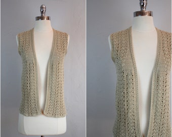 Vintage crochet sweater vest / boho crochet cardigan