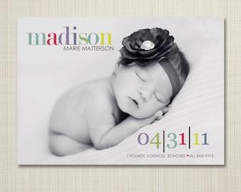 birth announcement, Baby boy announcement, Baby girl announcement, Double sided, newborn printable digital Simple modern birth announcement