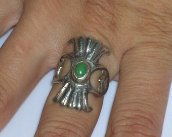 Vintage Native American Old Indian Pawn Sterling Silver Green Turquoise Ring S 7