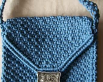 Macrame  purse, steel blue with silver buckle, Shoulder purse, Woman's purse, Girl's purse