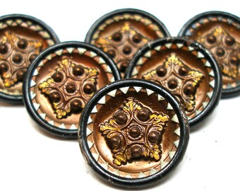 1800s French BUTTONS, 6 Victorian Stars with copper tint, unused.