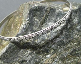 Sterling Silver Leaf Pattern Bangle Bracelet, Handmade Artisan Sterling Bangle