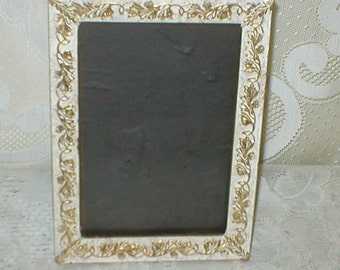 White Picture Frame Raised Gold Embossed Metal Detailing Vintage Wall Decor Shabby Cottage Chic