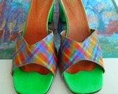 Rare! Vintage BEACH BARBIES John Fluevog Green Hologram Heels Shoes Women 7 M