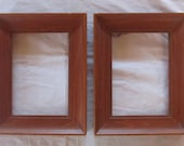 "vintage WOOD PICTURE FRAMES midcentury modern- maple ( 7 1/2"" x 9 1/2"") matching pair (2 frames)"