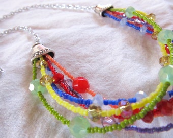 "RAINBOW CRYSTAL NECKLACE -- rainbow beaded necklace- genuine crystal beads-- 24"" necklace"