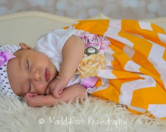 Baby Layette Chevron Gown - Coming Home Outfit - Sleep Sack - baby layette gown -Infant Gown - Photo Prop - baby shower