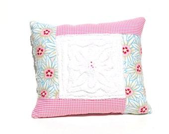 Chenille Pillow - Pink Aqua Gingham Flower Vintage Chenille Handmade Pillow