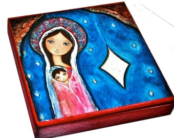 Nativity Star III  -   Giclee print mounted on Wood (4 x 4 inches) Folk Art  by FLOR LARIOS