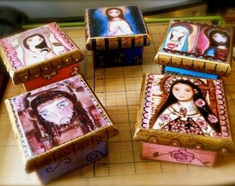 Madonnas - Jesus - Saints - Your Choice - Pre-Order -  Original Mixed Media Handmade Jewelry Box Folk Art by FLOR LARIOS