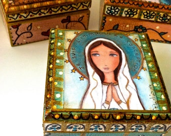 Madonnas - Mother  Daughter - Your Choice - Pre-Order -  Original Mixed Media Handmade Jewelry Box Folk Art by FLOR LARIOS