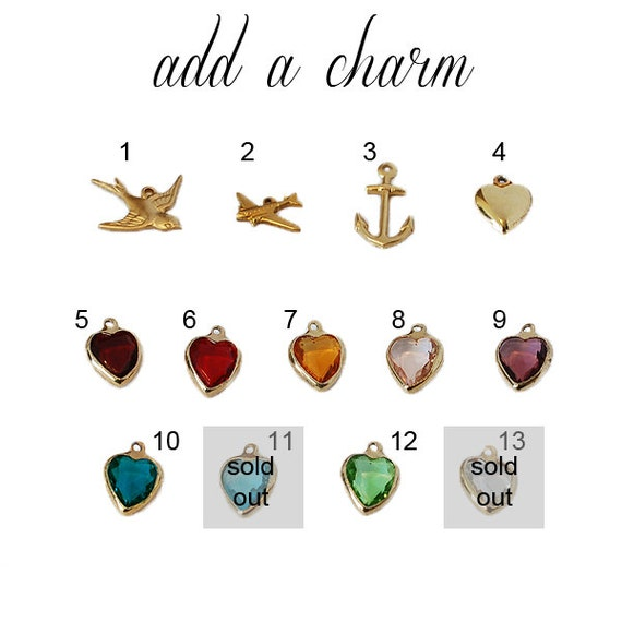 Add a Charm to your Locket or Compass Necklace - Bird - Heart - Airplane - Anchor - Vintage Glass