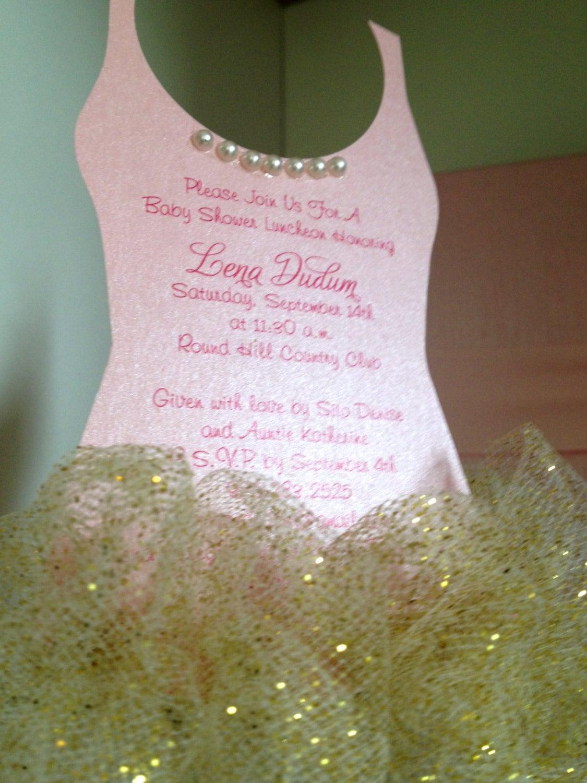 Tutu Baby shower invitation GOLD Ballerina baby by anaderoux