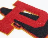 Vintage Letterman Letter Patch P with Megaphone Red Black Mustard Varsity School Jacket Large Letter Jacket Letter