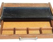 Nieman Marcus Mid Century Modern Vintage Men's Valet Jewelry Box Antique Wooden Box Dresser Valet