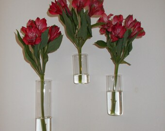 Set of Three Assorted Sizes Hand Blown Glass Wall Vases, Just Add Your Flowers and They're Ready to Hang