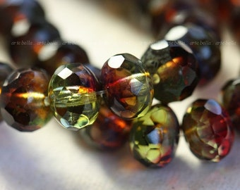 sale .. BERRY LIMEADE ..10 Premium Picasso Czech Glass Faceted Rondelle Beads 6x8mm (4103-10)