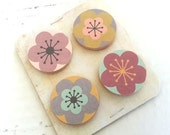 set of 4 magnets - poppies