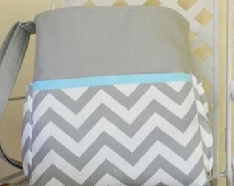 Gray Chevron  Diaper Bag Tarvel Tote Bag  Stroller Bag