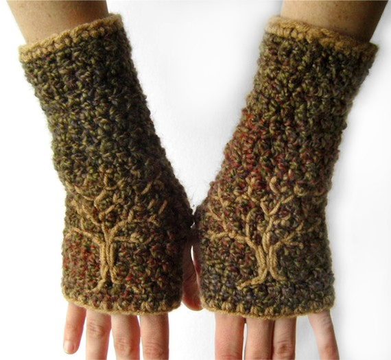 Fingerless Gloves with Embroidered Tree Design, Tree Armwarmers, Women's Tree of Life Gloves, Olive Green, Red, Blues, MADE TO ORDER