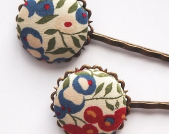 Blue Fall Floral Bobby Pins -  Set of Two Librarian Classic