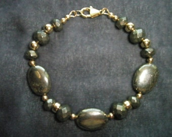 Natural Pyrite Gemstone Beaded Bracelet with 14/20 Gold Filled Beads and Findings