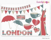 British icons clipart, UK flag bunting fashion digital clip art set PNG (052)